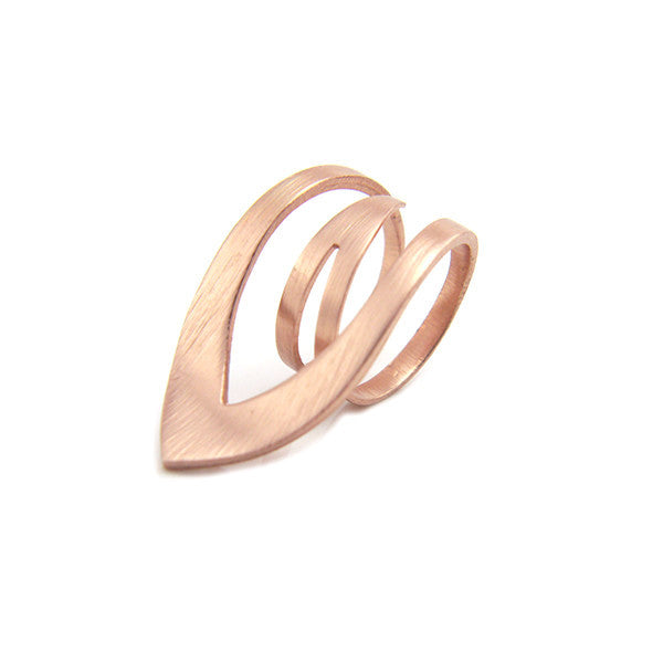 Sharp Leaf Outline Rose Gold Sterling Silver Ring