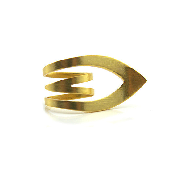 Sharp Leaf Outline Gold Sterling Silver Ring