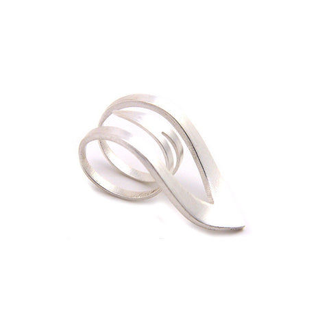 Sharp Leaf Outline Sterling Silver Ring