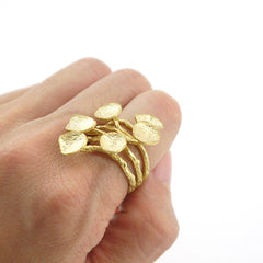 Lots of Floating Leave Gold Sterling Silver Big Ring