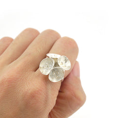 4 San hour Flower Sterling Silver Adjustable Ring