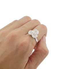 3 Small Roses Sterling Silver Adjustable Ring