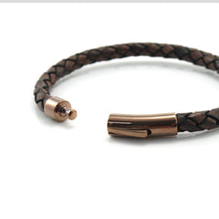 Brown Woven Leather Bracelet with Rose Gold Clasp