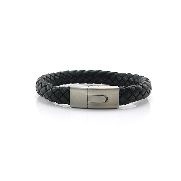 Black Woven Leather Bracelet with Matted Box Clasp