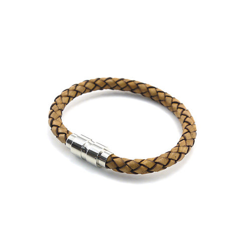 Light Brown Woven Leather Bracelet with Dumbbell Clasp
