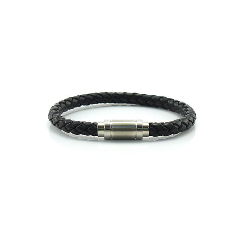Black Woven Leather Bracelet with Dumbbell Clasp