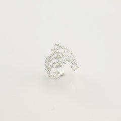 Frozen Short Sterling Silver Adjustable Ring