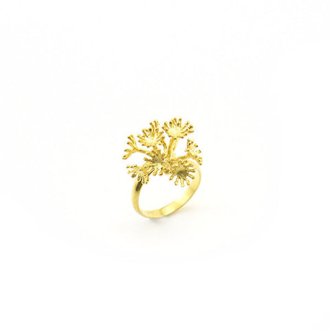 Alpine Snowbell Gold Sterling Silver Ring