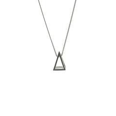 Cutout Pyramid Long Silver Necklace