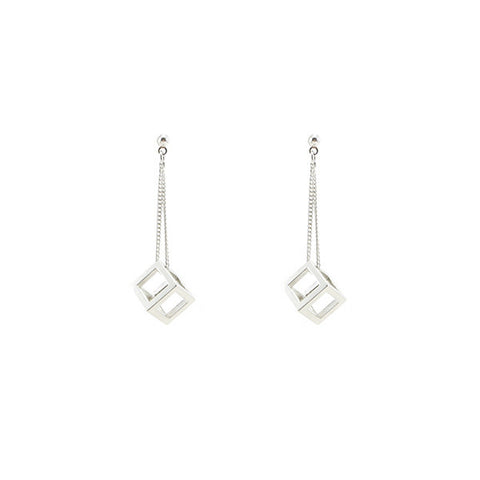 Cutout Cube Silver Earrings