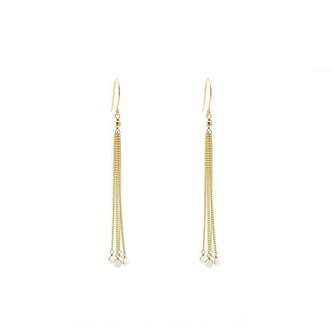 White Beads Tassel Gold Earrings