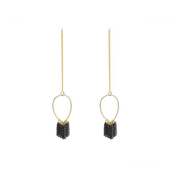 Cutout Waterdrop with Tassel Gold Earrings