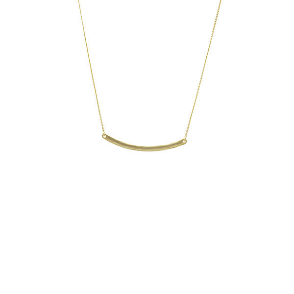 Curved Bar Gold Long Necklace