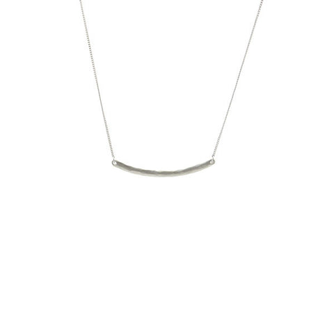Curved Bar Silver Long Necklace