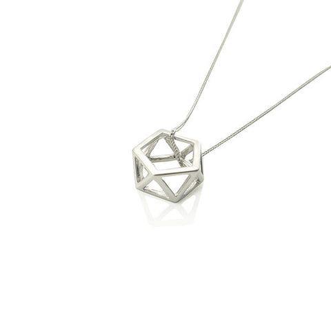 Cutout Hexagon Silver Long Necklace