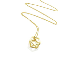 Cutout Hexagon Gold Long Necklace