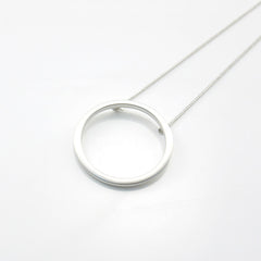 Cutout Big Circle Long Silver Necklace