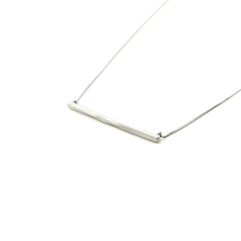 Twisted Bar Silver Long Necklace