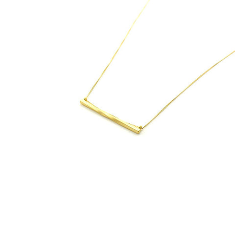 Twisted Bar Gold Long Necklace