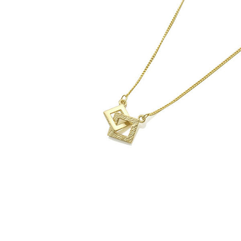 Duo Cutout Square Gold Short Necklace