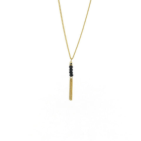 Linear Bead with Tassel Gold Short Necklace