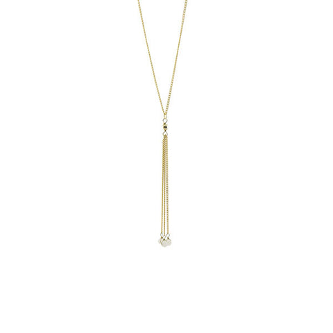 White Beads Tassel Gold Short Necklace