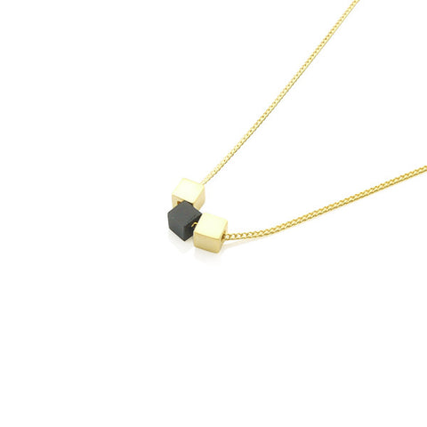 Triple Cube Short Gold & Black Short Necklace