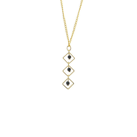 Trio Cutout Diamond with Black Bead Short Gold Necklace