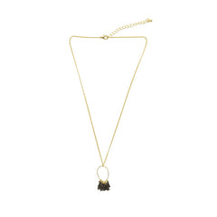 Cutout Waterdrop with Tassel Gold Short Necklace