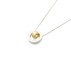Circle in Circle Silver Short Necklace