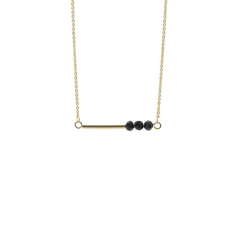 Bar with Black Onyx Gold Short Necklace