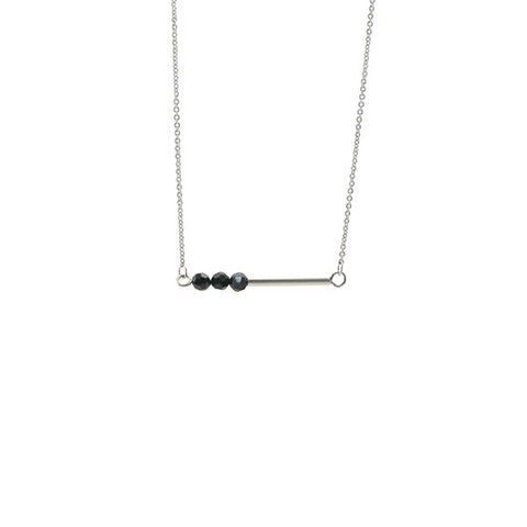 Bar with Black Onyx Silver Short Necklace