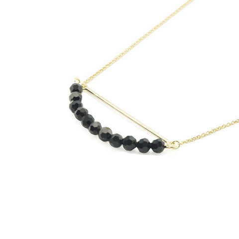 Curved Bar with Black Onyx Gold Short Necklace