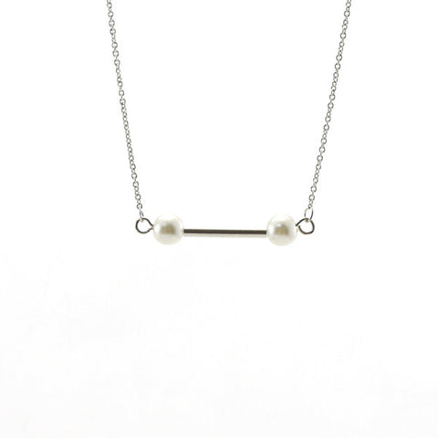 Bar with Duo Pearls Silver Short Necklace