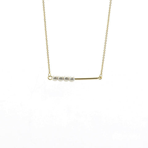 Bar with Quartet Pearls Gold Short Necklace