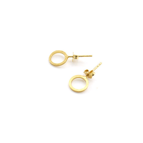 Cutout Circle Gold Sterling Silver Studs