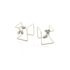3D Leaf Flower Sterling Silver Earrings