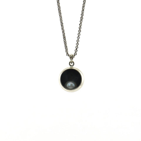 Pearl in Black Sphere Sterling Silver Short Necklace