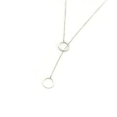 Duo Cut-out Circle Sterling Silver Short Necklace