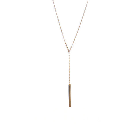 Drop Chain Rectangle Rose Gold Short Sterling Silver Necklace