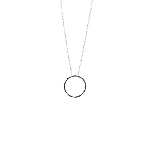 Cutout Circle Short Sterling Silver Necklace
