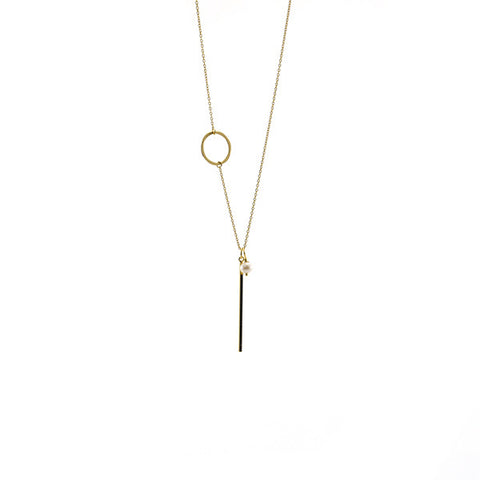 Circle & Bar Gold Long Sterling Silver Necklace