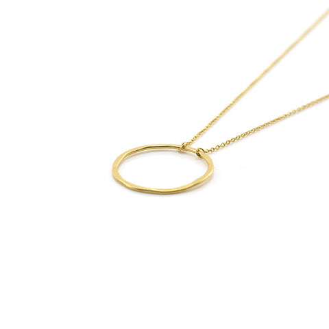 Cutout Circle Gold Short Sterling Silver Necklace