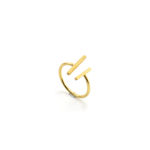 Duo Bar Gold Sterling Silver Ring