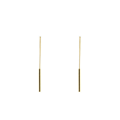 Cylinder Gold Sterling Silver Pull-Thru Earrings