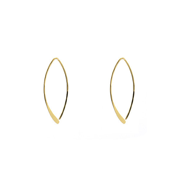 Flat Oval Gold Sterling Silver Hook Earrings