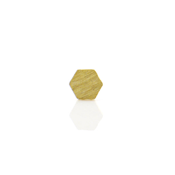 Single Hexagon Gold Sterling Silver Studs