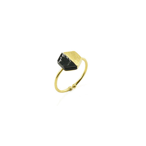 Hexagon Black Stone Gold Ring