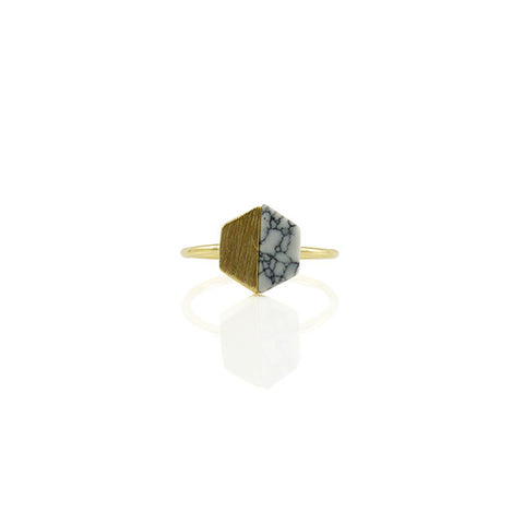 Hexagon White Stone Gold Ring