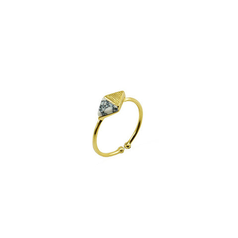 Rhombus White Stone Gold Ring